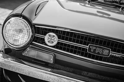 Photograph - 1973 Triumph Tr6 Grille Emblem -0837bw by Jill Reger