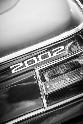Photograph - 1974 Bmw 2002 Taillight Emblem -2358bw by Jill Reger