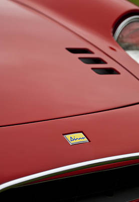 Pebble Beach Photograph - 1974 Ferrari Dino 246gts Hood Emblem by Jill Reger