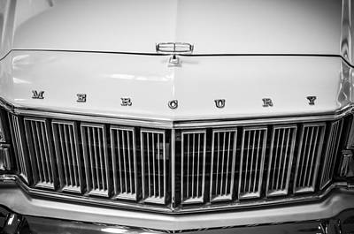 Photograph - 1974 Mercury Grand Marquis Wagon Grille Emblem -0227bw by Jill Reger