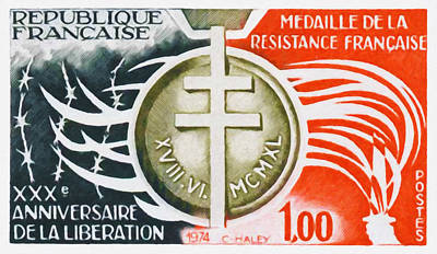 Liberation Painting - 1974 Xxx Anniversary Of The Liberation Medal Of The French Resistance by Lanjee Chee