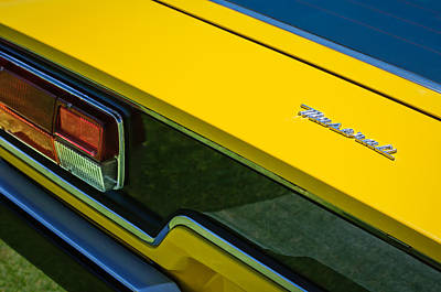 1975 Photograph - 1975 Maserati Khamsin Taillight Emblem -0144c by Jill Reger