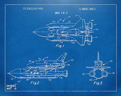 Space Ships Drawing - 1975 Space Shuttle Patent - Blueprint by Nikki Marie Smith