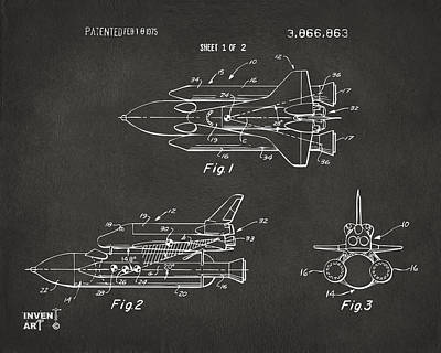 Space Ships Drawing - 1975 Space Shuttle Patent - Gray by Nikki Marie Smith
