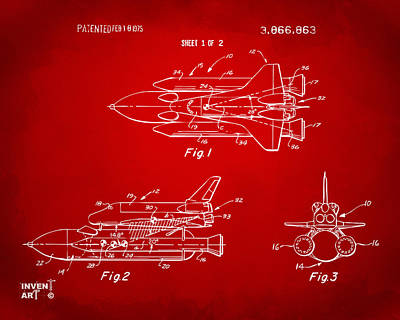 Space Ships Drawing - 1975 Space Shuttle Patent - Red by Nikki Marie Smith