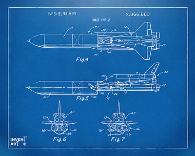 Space Ships Drawing - 1975 Space Vehicle Patent - Blueprint by Nikki Marie Smith