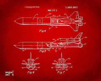 Space Ships Drawing - 1975 Space Vehicle Patent - Red by Nikki Marie Smith