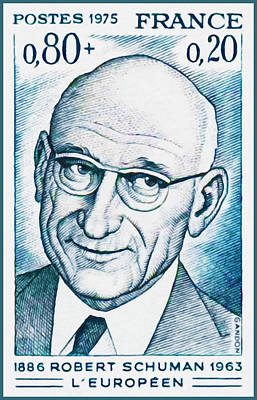 Character Portraits Painting - 1975 The European Robert Schuman 1886-1963 by Lanjee Chee
