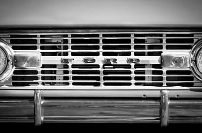 1976 Ford Bronco Grille Emblem -3275bw Art Print by Jill Reger