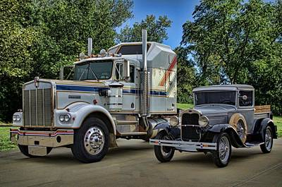 Photograph - 1976 Kenworth Semi Truck And 1930 Ford Model A Pickup Truck by Tim McCullough