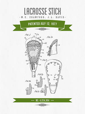 1977 Lacross Stick Patent Drawing - Retro Green Art Print by Aged Pixel
