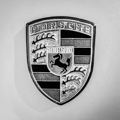 1977 Photograph - 1977 Porsche 911s Coupe Emblem - 0156bw55 by Jill Reger