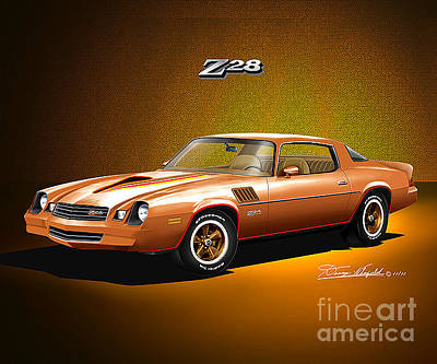 Muscle Cars Drawing - 1978 Camaro Z28  Camel Tan by Danny Whitfield