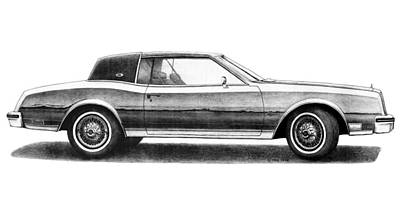Buick Drawing - 1979 Buick Riviera by Nick Toth