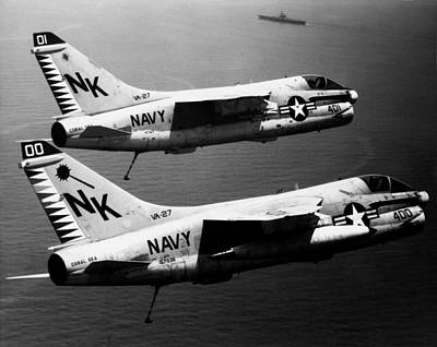 Photograph - 1979 Us Navy A-7 Corsairs by Historic Image