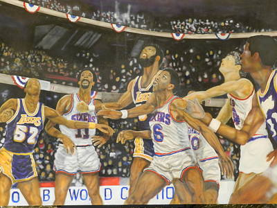 Dr J Painting - 1980 Nba Championship by Jerald Vallan