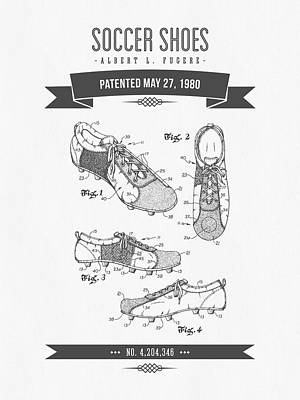 Football Royalty-Free and Rights-Managed Images - 1980 Soccer Shoes Patent Drawing - Retro Gray by Aged Pixel