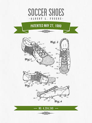 Football Royalty-Free and Rights-Managed Images - 1980 Soccer Shoes Patent Drawing - Retro Green by Aged Pixel