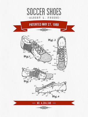 Shoe Digital Art - 1980 Soccer Shoes Patent Drawing - Retro Red by Aged Pixel