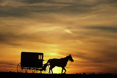1980s Amish Horse And Buggy Silhouetted Art Print