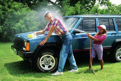 1980s Grandfather Washing Car Art Print