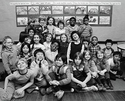 Schoolroom Photograph - 1980s Group Portrait Of Grade School by Vintage Images