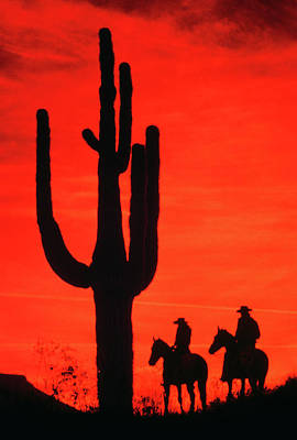 1980s Silhouette Two Anonymous Cowboys Art Print