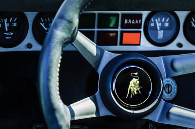Photograph - 1982 Lamborghini Countach 5000s Steering Wheel Emblem -1549c by Jill Reger