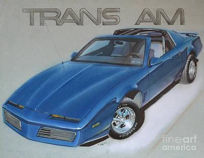 Pontiac Drawing - 1982 Trans Am by Paul Kuras