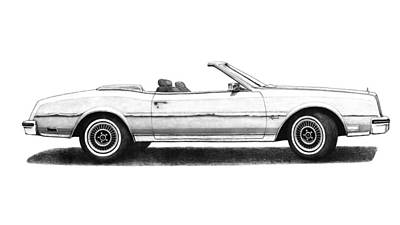 Buick Drawing - 1983 Buick Riviera Turbo Convertible White by Nick Toth