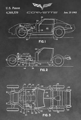 General Motors Digital Art - 1983 Corvette Patent by Dan Sproul