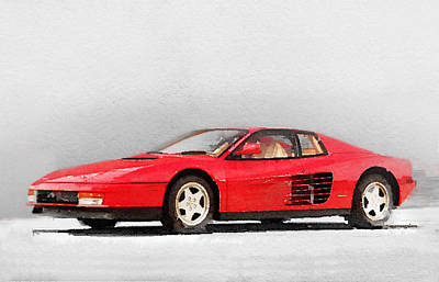 European Cars Mixed Media - 1983 Ferrari 512 Testarossa by Naxart Studio