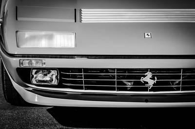 1984 Photograph - 1984 Ferrari 512bbi Grille Emblem -0524bw by Jill Reger
