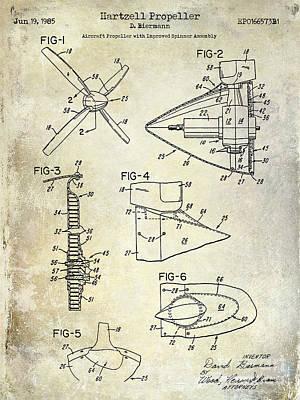 1985 Hartzell Propeller Blueprint Art Print by Jon Neidert