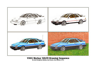 Painting - 1985 Merkur Xr4ti Drawing Sequence by Jack Pumphrey