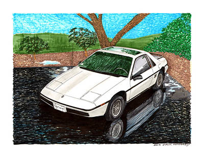 Painting - 1985 Pontiac Fiero Reflections by Jack Pumphrey