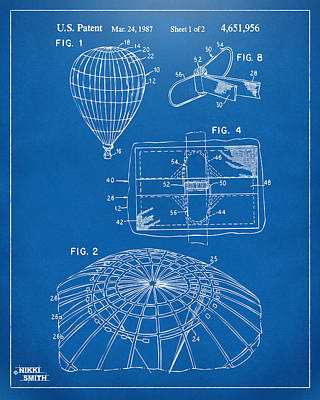 Drawing - 1987 Hot Air Balloon Patent Artwork - Blueprint by Nikki Marie Smith