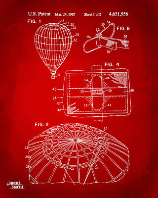 Digital Art - 1987 Hot Air Balloon Patent Artwork - Red by Nikki Marie Smith