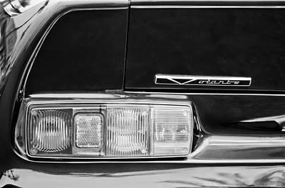 Photograph - 1988 Aston Martin Vantage Volante Emblem -0164bw by Jill Reger