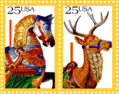 Horses Photograph - 1988 Carousel Horse And Reindeer Postage Stamps by Donna Haggerty