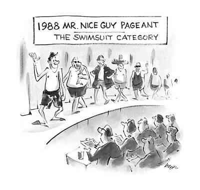 1988 Mr. Nice Guy Pageant-the Swimsuit Category Art Print by Lee Lorenz