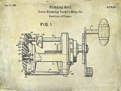 Cape Cod Photograph - 1988 Penn Fishing Reel Patent Drawing by Jon Neidert