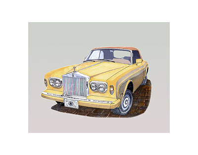Model Drawing - 1988 Rolls  Royce's Corniche Convertible  by Jack Pumphrey