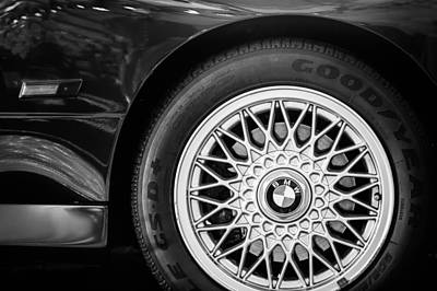 Photograph - 1989 Bmw E30 M3 Convertible Wheel -0878bw by Jill Reger