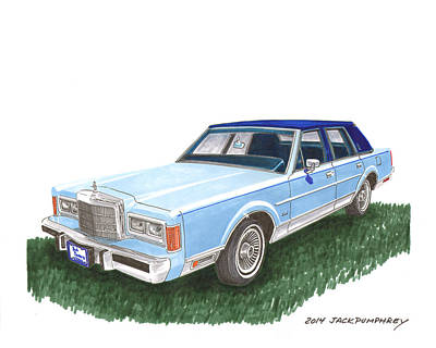 Painting - Classy 1989 Lincoln Towncar by Jack Pumphrey