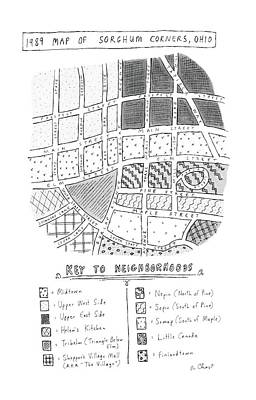 Sorghum Drawing - 1989 Map Of Sorghum Corners by Roz Chast