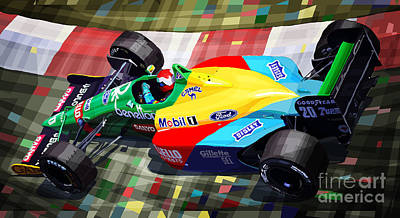 Media Digital Art - 1989 Monaco Benettonb188 Ford Cosworth J Herbert by Yuriy Shevchuk