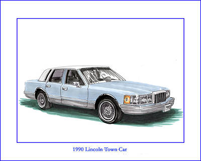 Painting - 1990 Lincoln Town Car Print by Jack Pumphrey