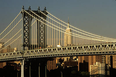 1990s Manhattan Bridge And Empire State Art Print