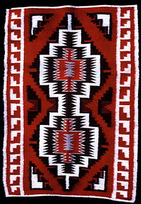 Native American Symbols Painting - 1990s Navajo Rug Traditional Patterns by Vintage Images
